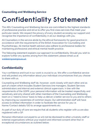Counselling and Confidentiality Statement