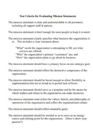 Criteria for Evaluating Mission Statement