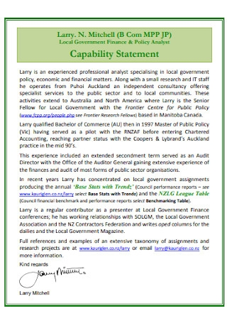 Curriculum Vitae and Capability Statement