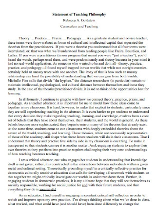 Curriculum and Teaching Philosophy Statement