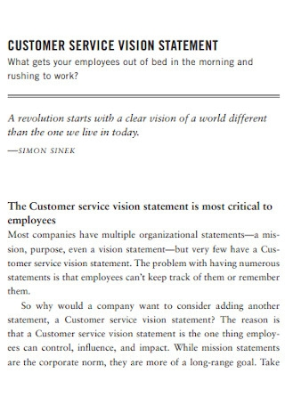 Customer Service Vision Statement