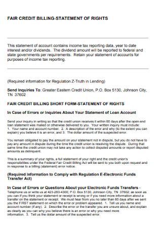 Dair Credit Billing Statement