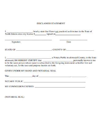 Disclaimer Statement Format