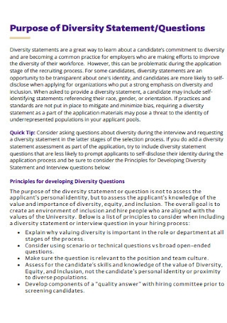 Diversity Statements and Interview Questions