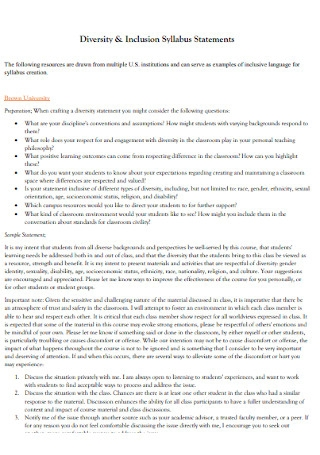 Diversity and Inclusion Syllabus Statements
