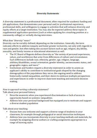 DiversityStatements Format