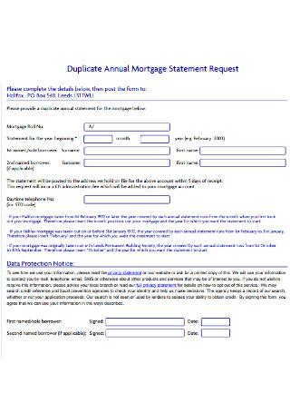 Duplicate Annual Mortgage Statement