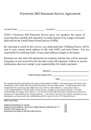 Electronic Bill Statement Service Agreement