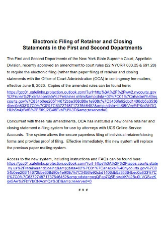 Electronic Filing of Retainer Closing Statements