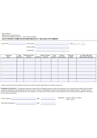 Eloctronic Home Billing Statement
