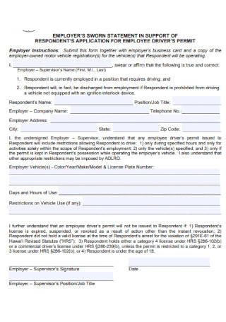 Employers Sworn Statement Template