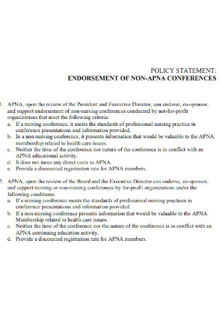 Endorsement Policy Statement Example