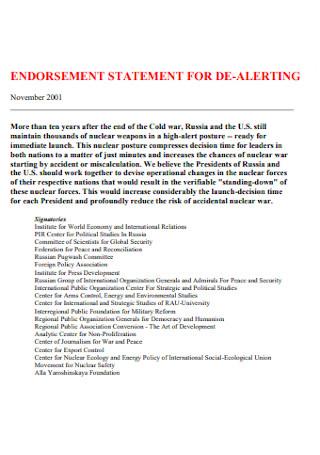 Endorsement Statement for De Alerting