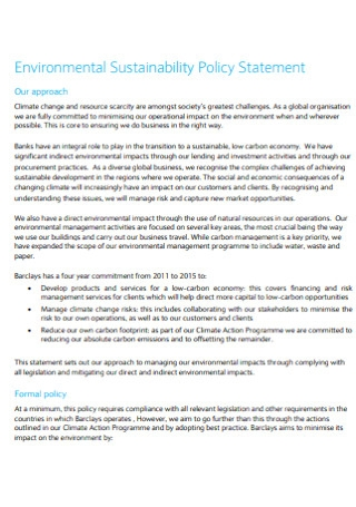 Environmental Sustainability Policy Statement