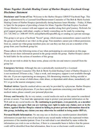 Facebook Group Disclaimer Statement