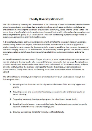 Faculty Diversity Statement