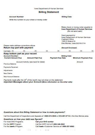 Formal Billing Statement Template