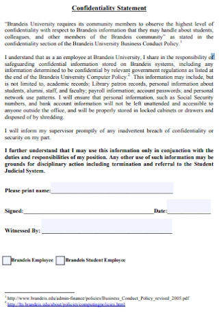 Formal Confidentiality Statement Example