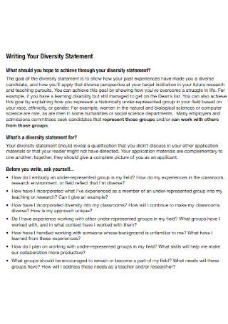 Formal Diversity Statement Template