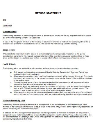 Formal Method Statement Example