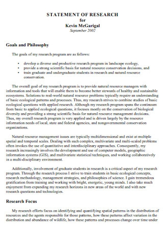 Formal Research Statement Template