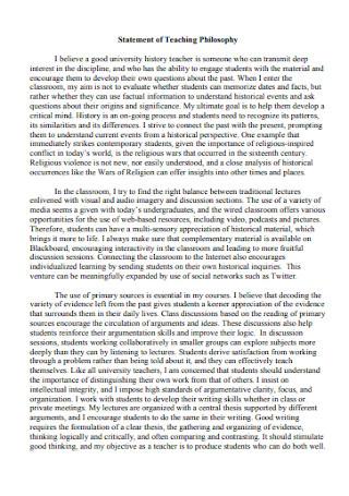 Formal Statement of Teaching Philosophy