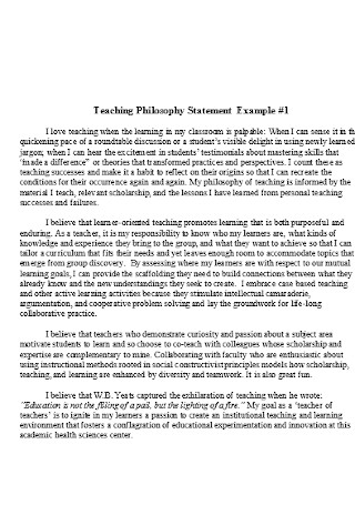 Formal Teaching Philosophy Statement Example