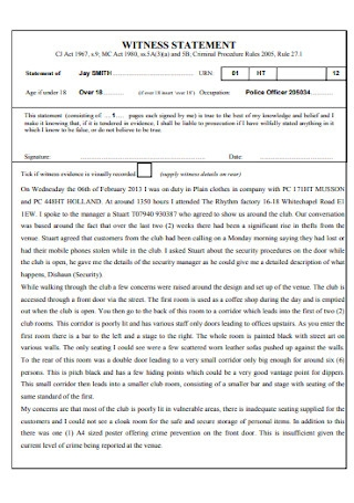 Formal Witness Statement Template