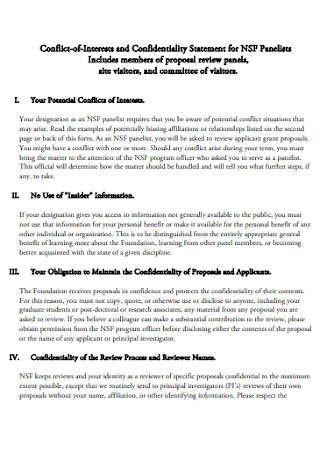 Foundation Confidentiality Statement