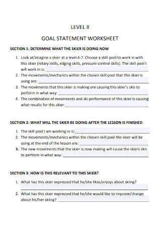 Goal Statement Worksheet