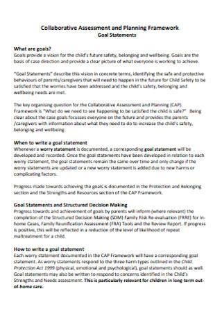 Goal Statements Format