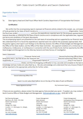 Grant Certification and Sworn Statement