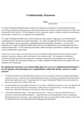 Health Confidentiality Statement Example