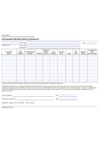 Homemaker Monthly Billing Statement