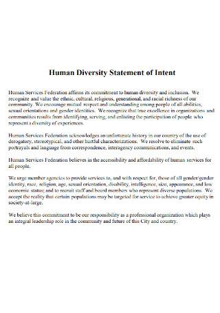 Human Diversity Statement of Intent