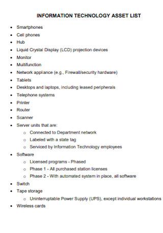 Informatation Technology Asset List