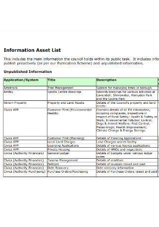 Information Asset List Template