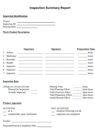 Inspection Summary Report