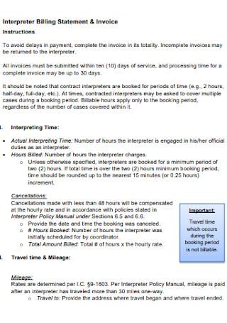 Interpreter Billing Statement