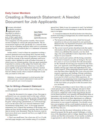 Job Application Research Statement