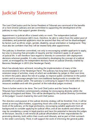 Judicial Diversity Statement