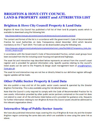Land and Property Asset List