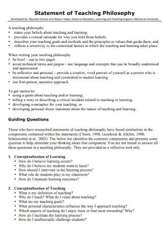 Learning and Teaching Teaching Philosophy