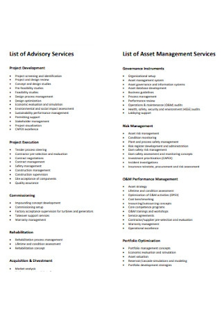 List of Asset Management Services