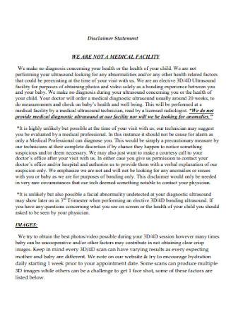 Medical Disclaimer Statement