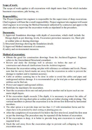 Method Statement for Deep Excavations