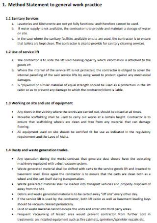 Method Statement to General Work