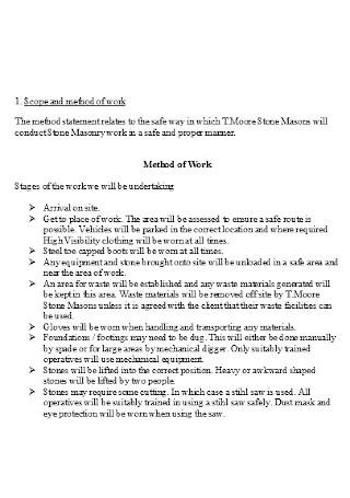 Method of Work Statement Example