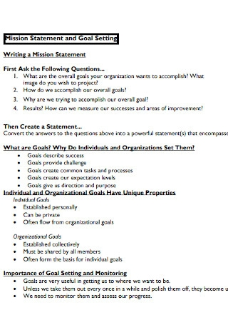Mission Statement and Goal Setting