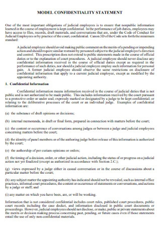 Model Confidentiality Statement